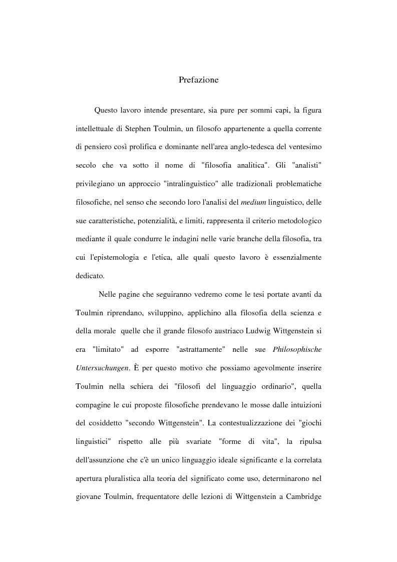 Anteprima della tesi: Stephen Toulmin ''neo-umanista'': scienza, etica e retorica, Pagina 1