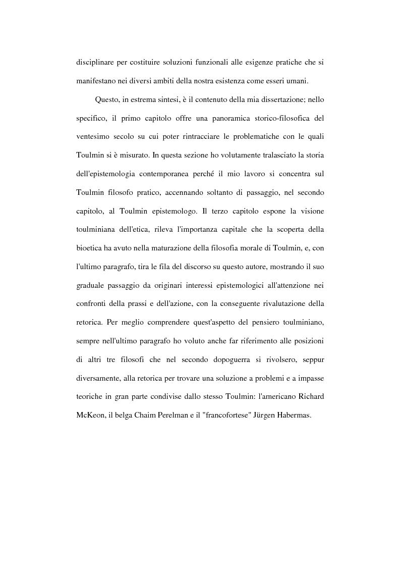 Anteprima della tesi: Stephen Toulmin ''neo-umanista'': scienza, etica e retorica, Pagina 6