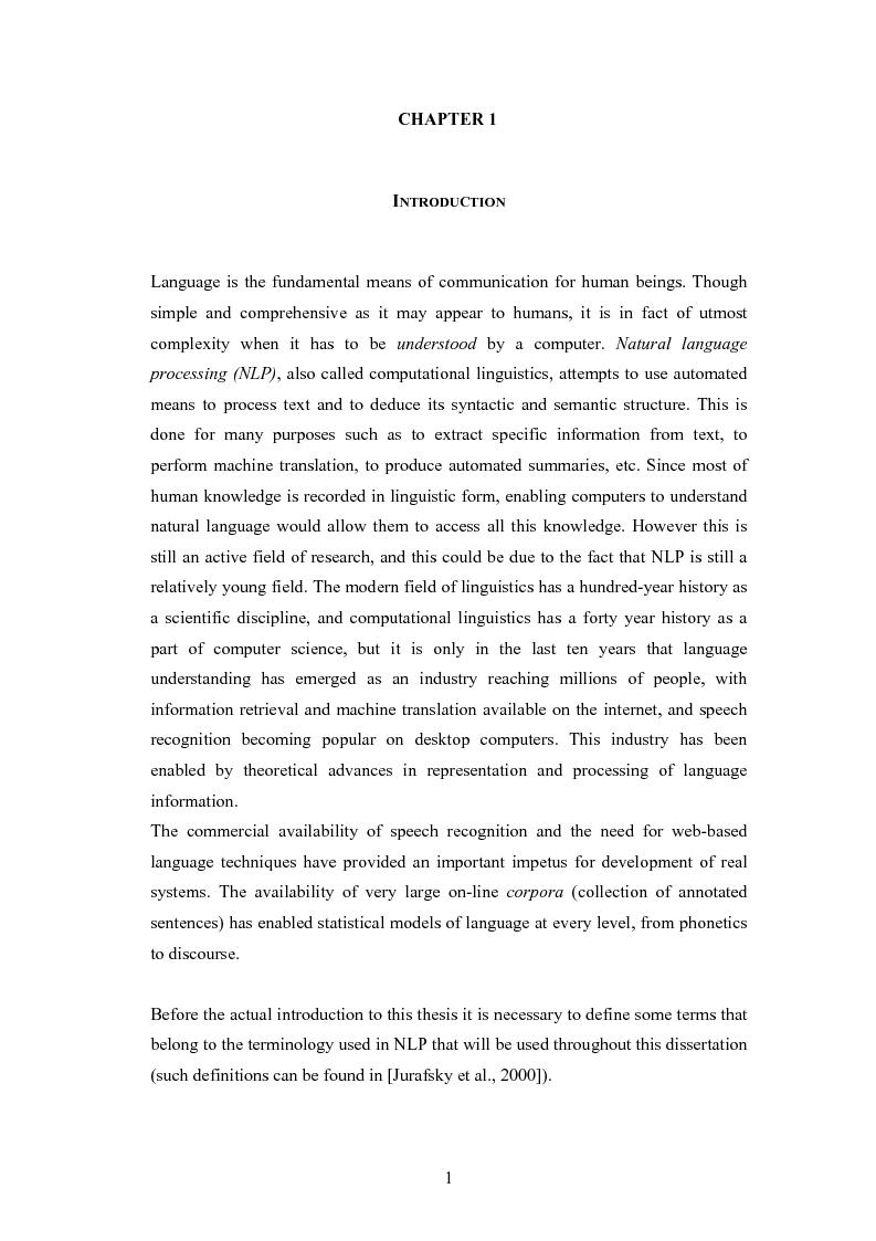 Anteprima della tesi: Un sistema per la rappresentazione lessico-semantica di istruzioni in linguaggio naturale, Pagina 3