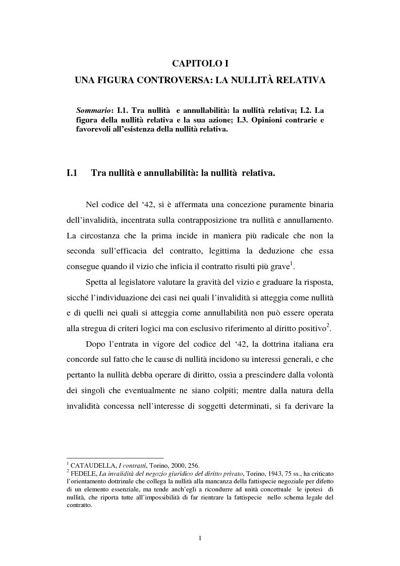 Anteprima della tesi: La nullità relativa, Pagina 1