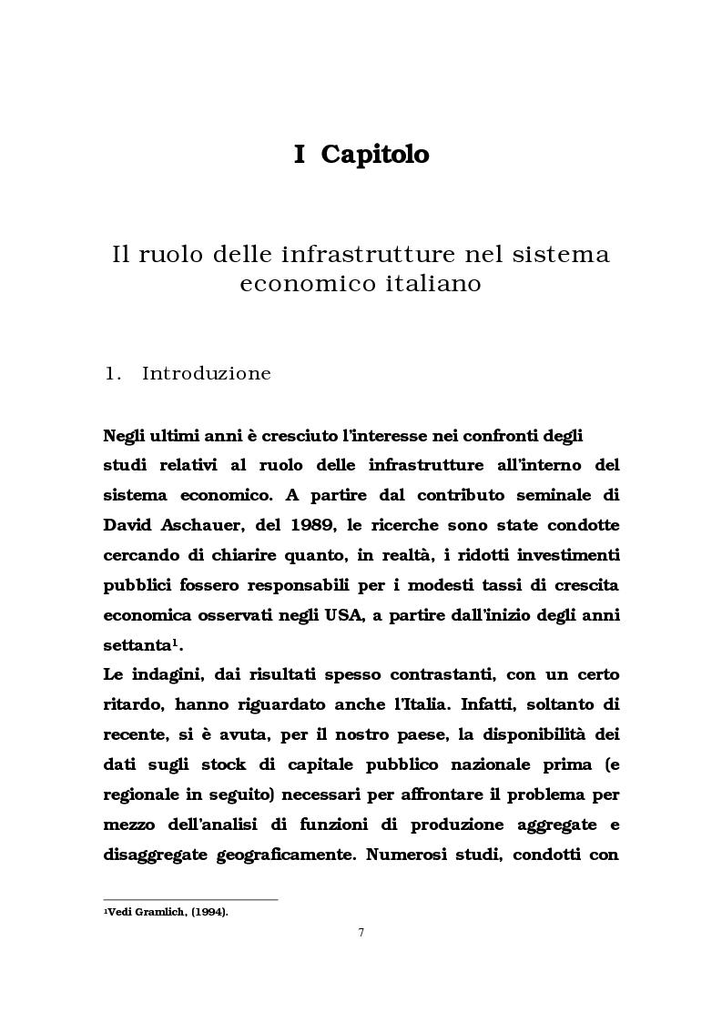 Anteprima della tesi: Il ruolo delle infrastrutture pubbliche nello sviluppo regionale italiano, Pagina 4