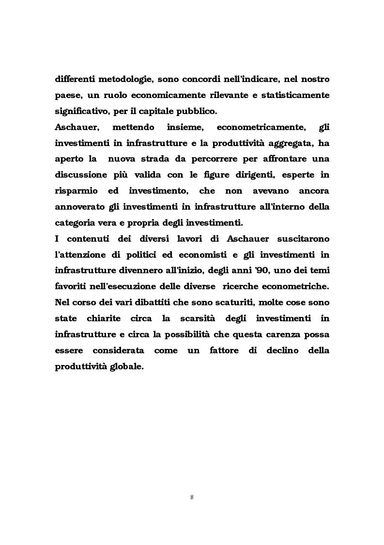 Anteprima della tesi: Il ruolo delle infrastrutture pubbliche nello sviluppo regionale italiano, Pagina 5