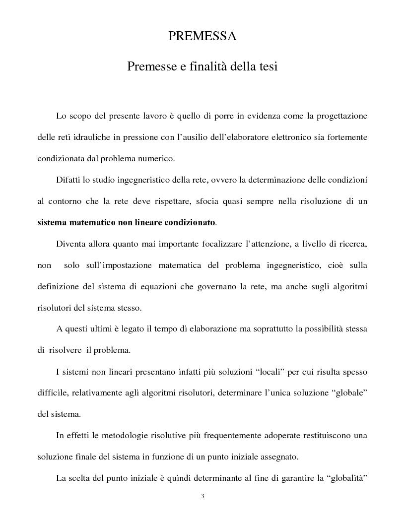 Anteprima della tesi: Calcolo delle reti idrauliche in pressione mediante una tecnica mista algoritmi genetici / metodo Gauss-Newton, Pagina 1