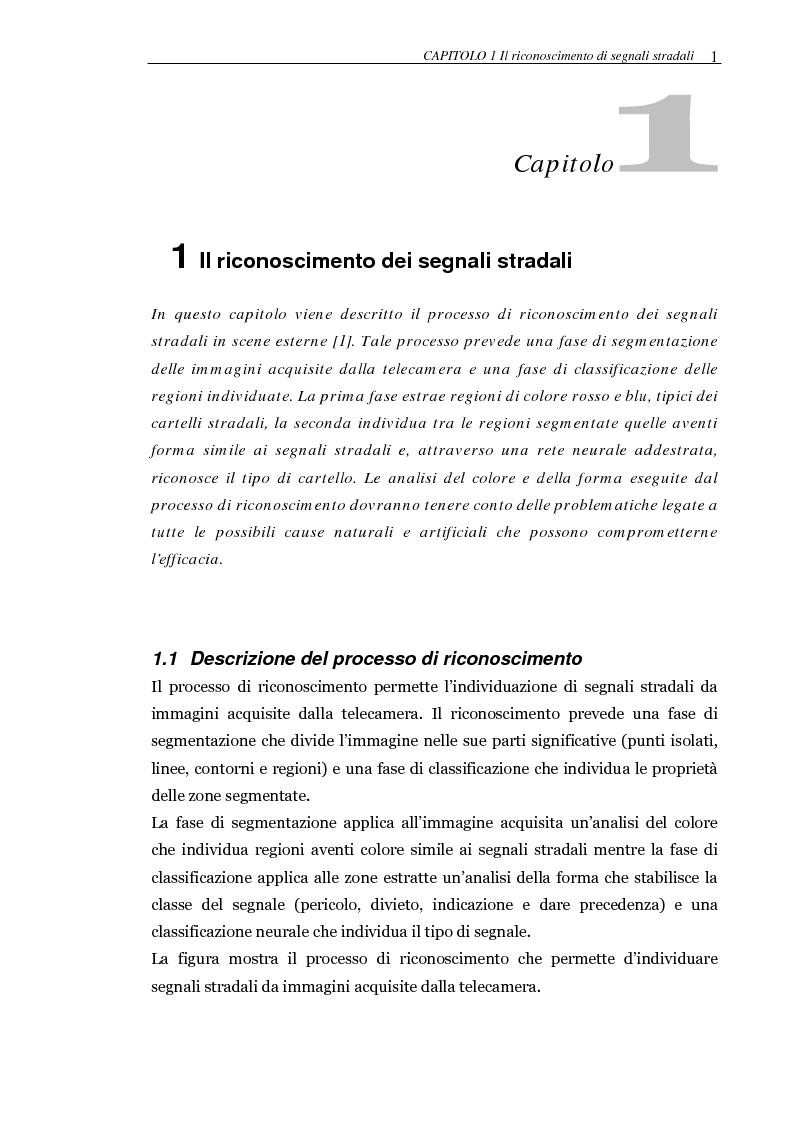 Anteprima della tesi: Realizzazione di un sistema automatico per il riconoscimento in tempo reale di segnali stradali. Implementazione del classificatore su FPGA, Pagina 4
