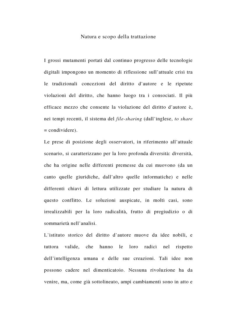 Anteprima della tesi: I rapporti tra file-sharing e diritto d'autore: aspetti nazionali ed internazionali, Pagina 1