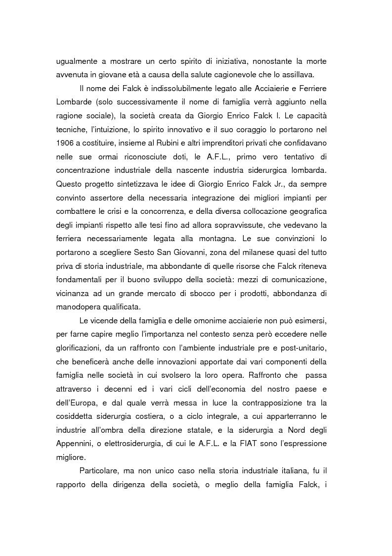 Anteprima della tesi: Quando l'acciaio è un affare di famiglia. Storia dei Falck, Pagina 2