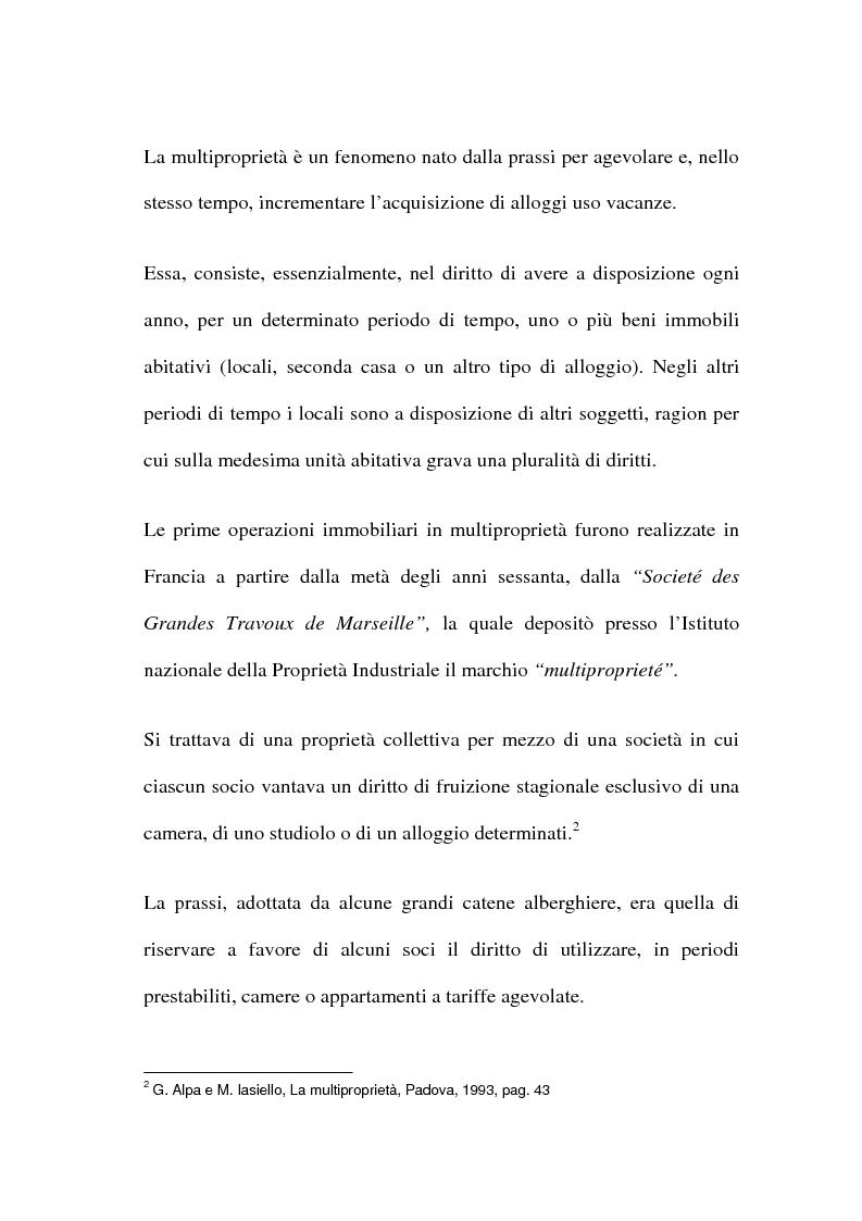 Anteprima della tesi: La multiproprietà: comparazione tra il diritto italiano ed il diritto spagnolo, Pagina 2