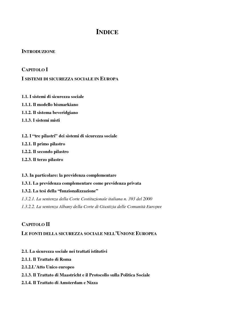 Indice della tesi: La previdenza complementare nei sistemi di sicurezza sociale europei, Pagina 1