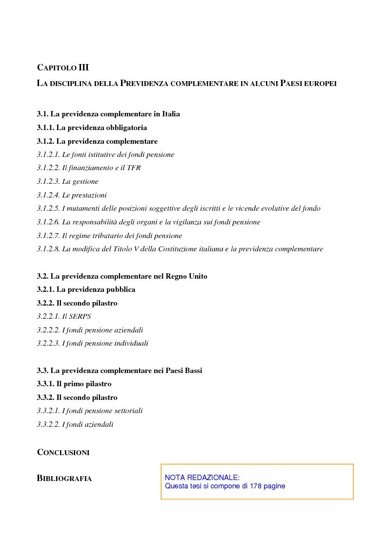 Indice della tesi: La previdenza complementare nei sistemi di sicurezza sociale europei, Pagina 3