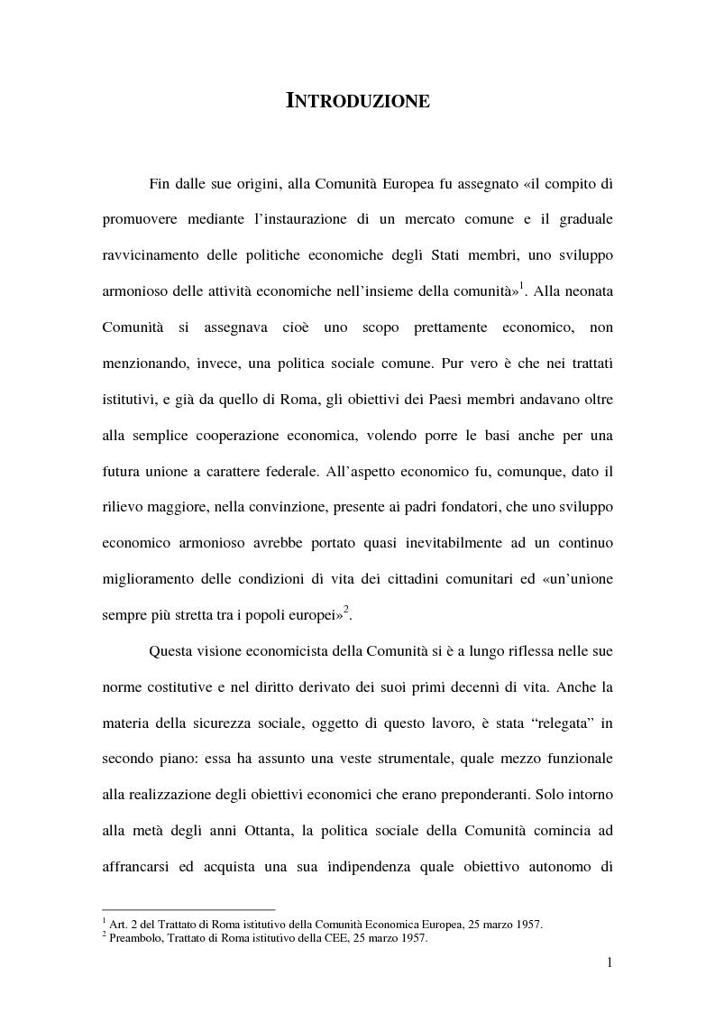 Anteprima della tesi: La previdenza complementare nei sistemi di sicurezza sociale europei, Pagina 1