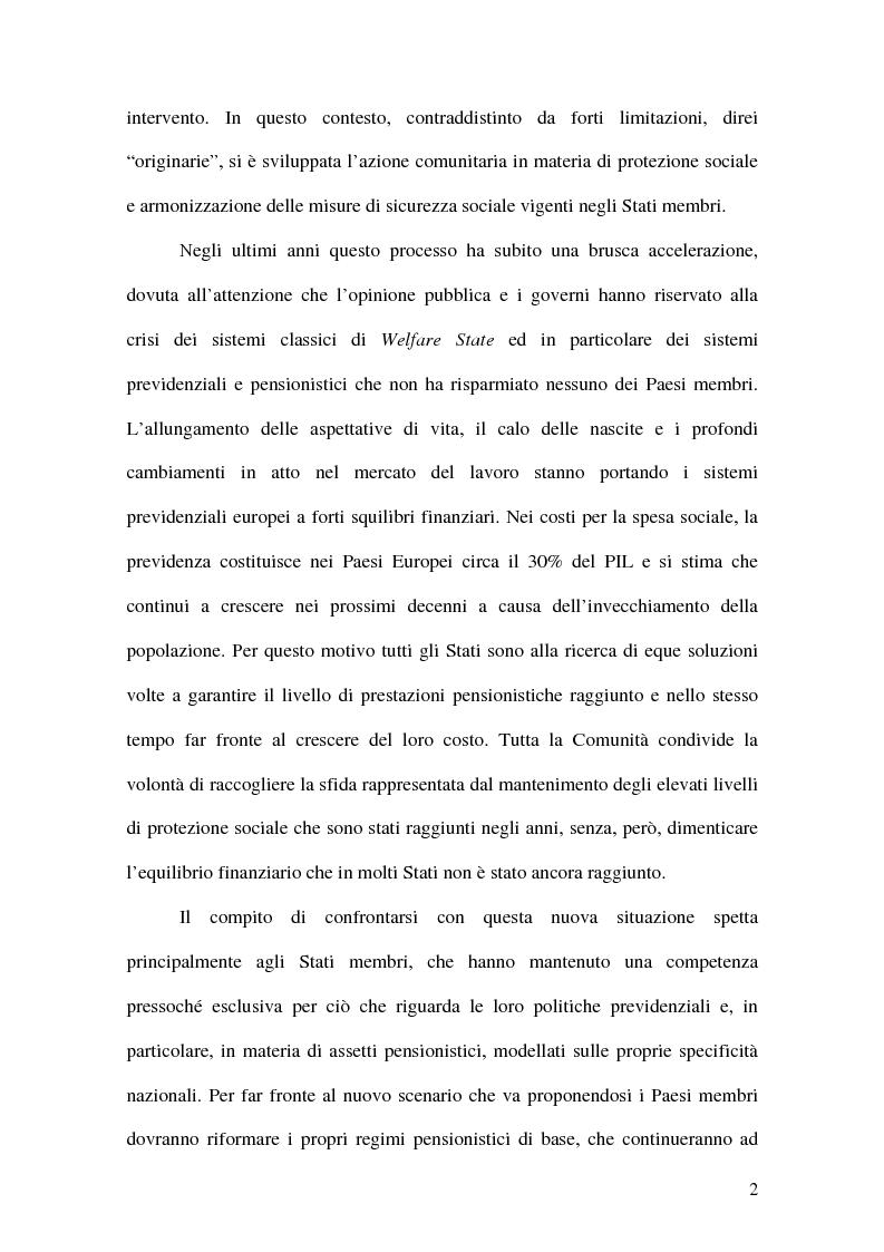 Anteprima della tesi: La previdenza complementare nei sistemi di sicurezza sociale europei, Pagina 2
