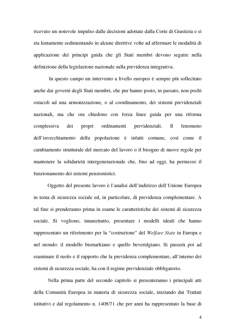 Anteprima della tesi: La previdenza complementare nei sistemi di sicurezza sociale europei, Pagina 4