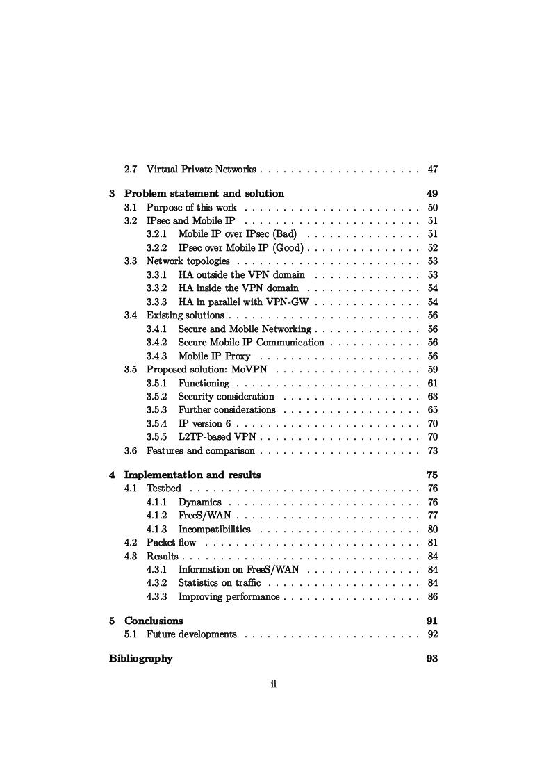 Indice della tesi: IP Mobility Support for Virtual Private Networks, Pagina 2