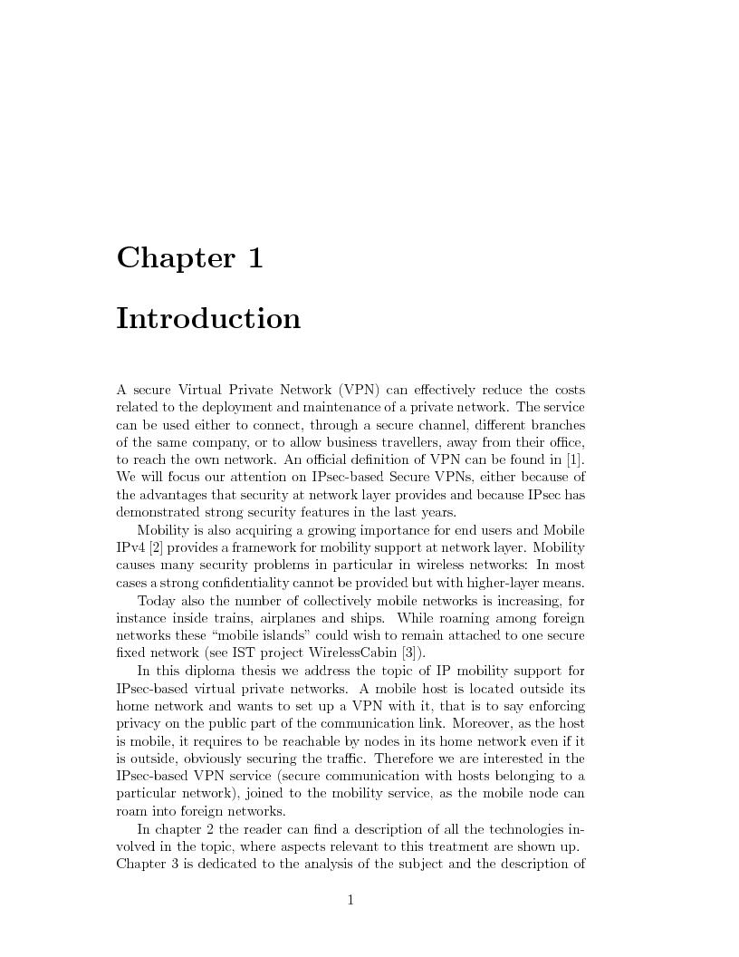 Anteprima della tesi: IP Mobility Support for Virtual Private Networks, Pagina 1