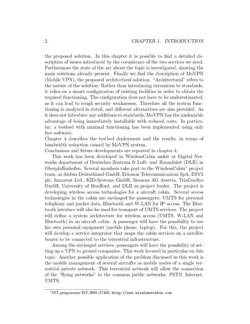 Anteprima della tesi: IP Mobility Support for Virtual Private Networks, Pagina 2