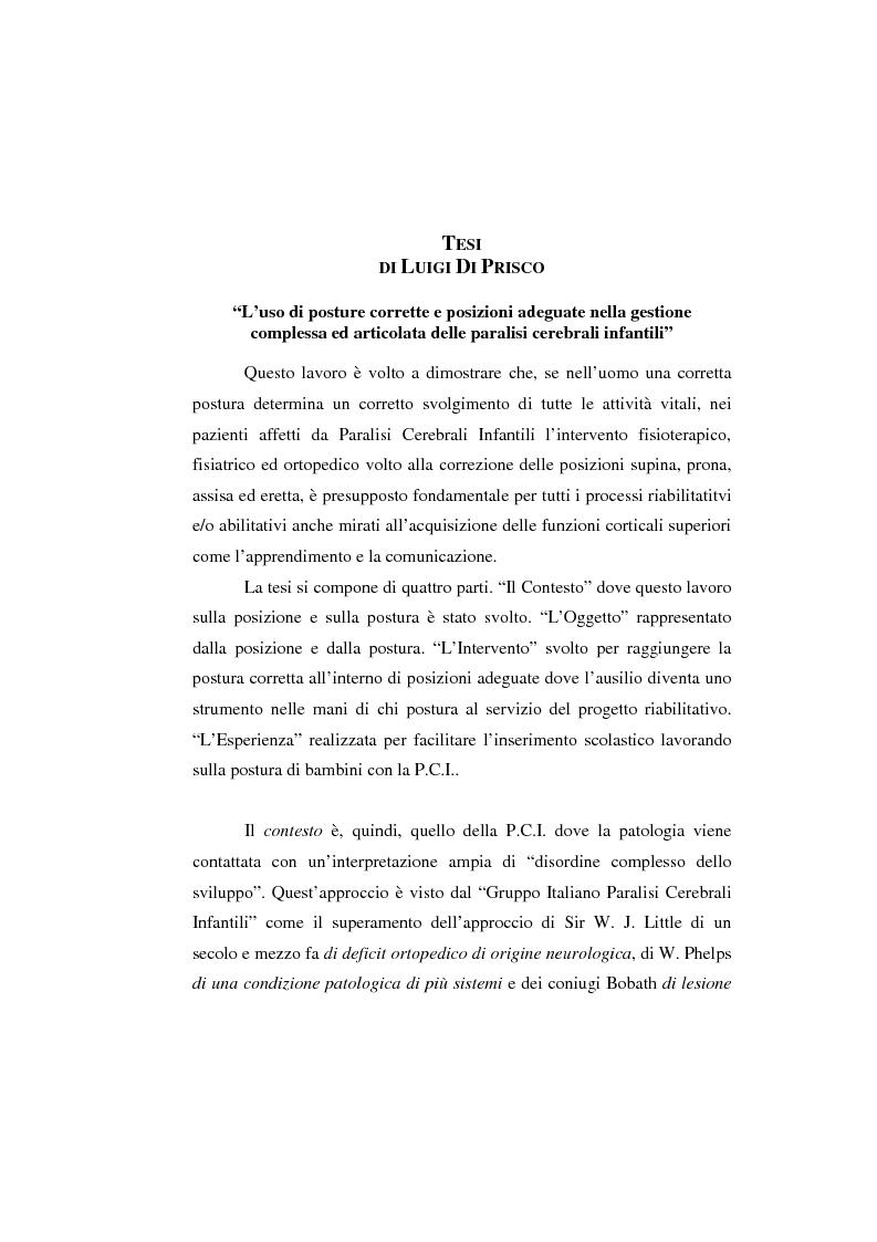 Anteprima della tesi: L'uso di posture corrette e posizioni adeguate nella gestione complessa ed articolata delle paralisi cerebrali infantili, Pagina 1