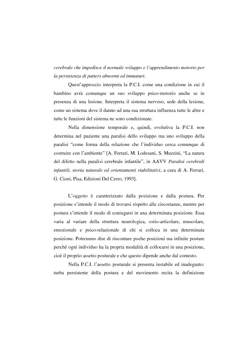 Anteprima della tesi: L'uso di posture corrette e posizioni adeguate nella gestione complessa ed articolata delle paralisi cerebrali infantili, Pagina 2