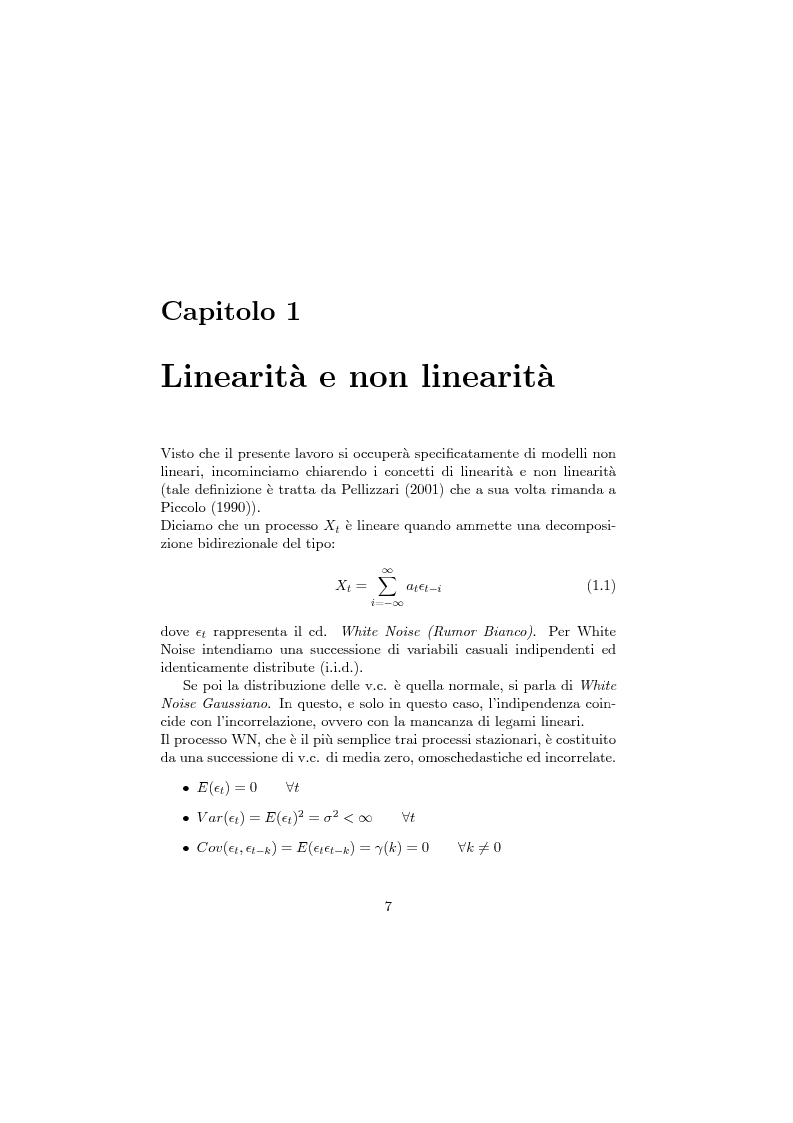 Anteprima della tesi: Modelli parametrici non-lineari e reti neurali artificiali per l'analisi delle serie storiche finanziarie, Pagina 7