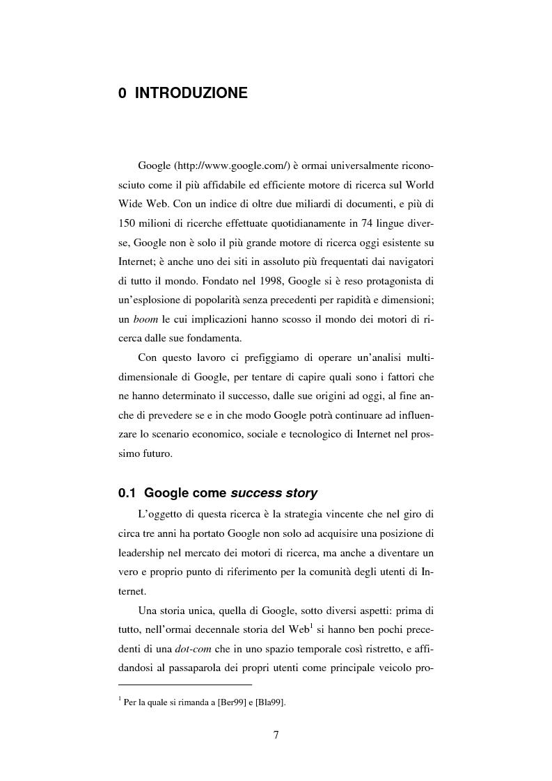 Anteprima della tesi: Google: analisi multi-dimensionale di un motore di ricerca Internet, Pagina 1