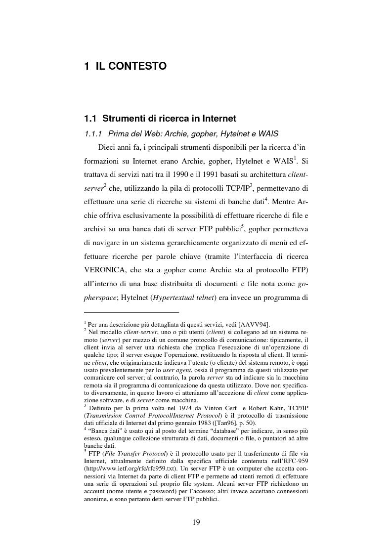 Anteprima della tesi: Google: analisi multi-dimensionale di un motore di ricerca Internet, Pagina 12