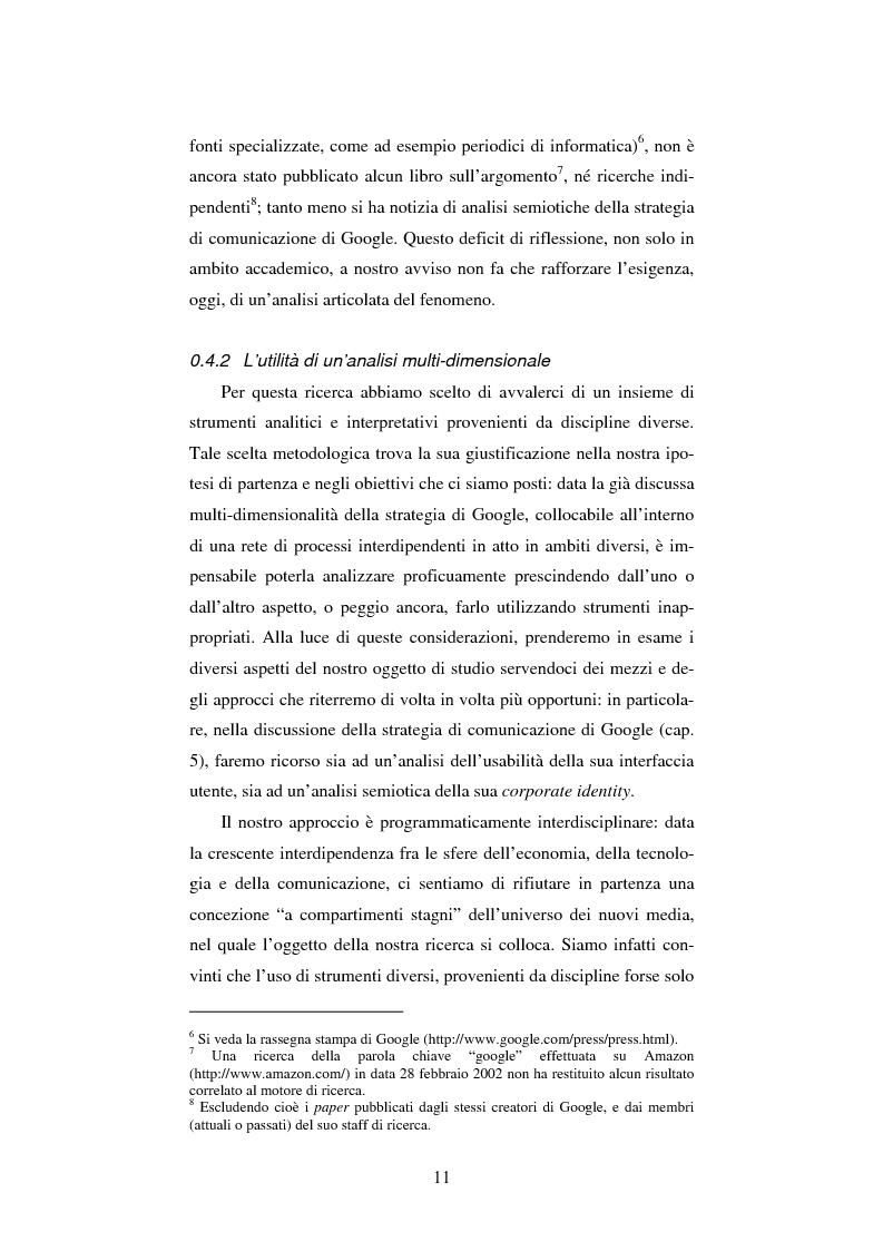 Anteprima della tesi: Google: analisi multi-dimensionale di un motore di ricerca Internet, Pagina 5