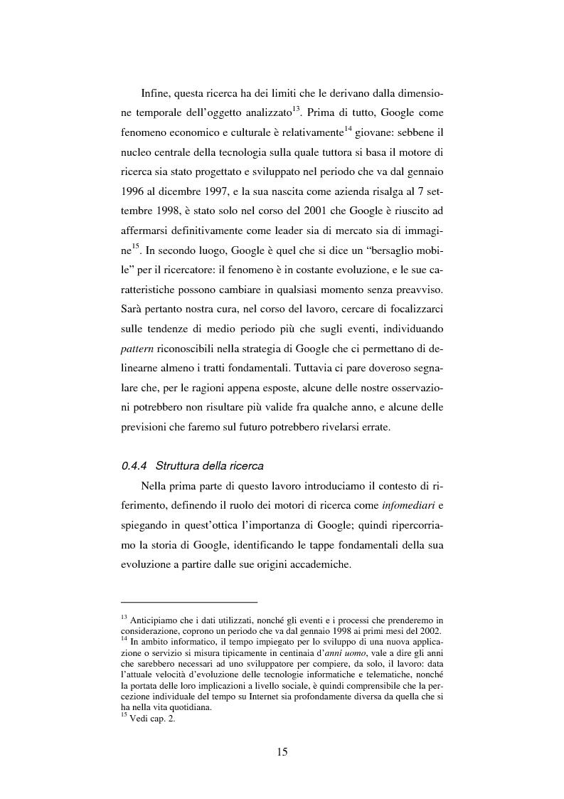 Anteprima della tesi: Google: analisi multi-dimensionale di un motore di ricerca Internet, Pagina 9