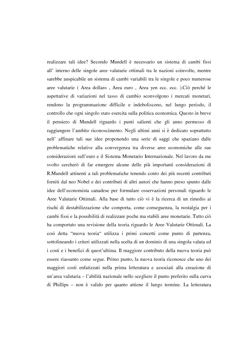 Anteprima della tesi: Le aree valutarie ottimali: la realtà dell'Ume, Pagina 3