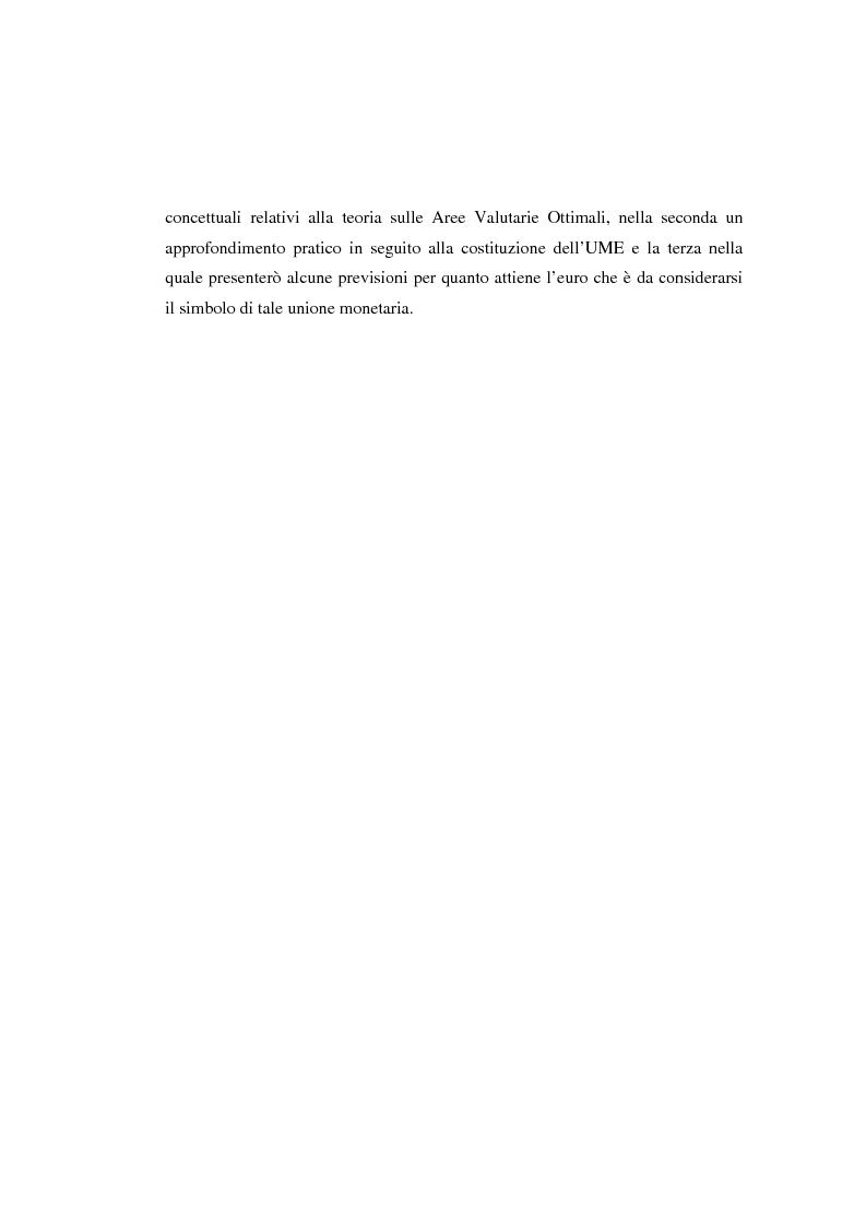 Anteprima della tesi: Le aree valutarie ottimali: la realtà dell'Ume, Pagina 5