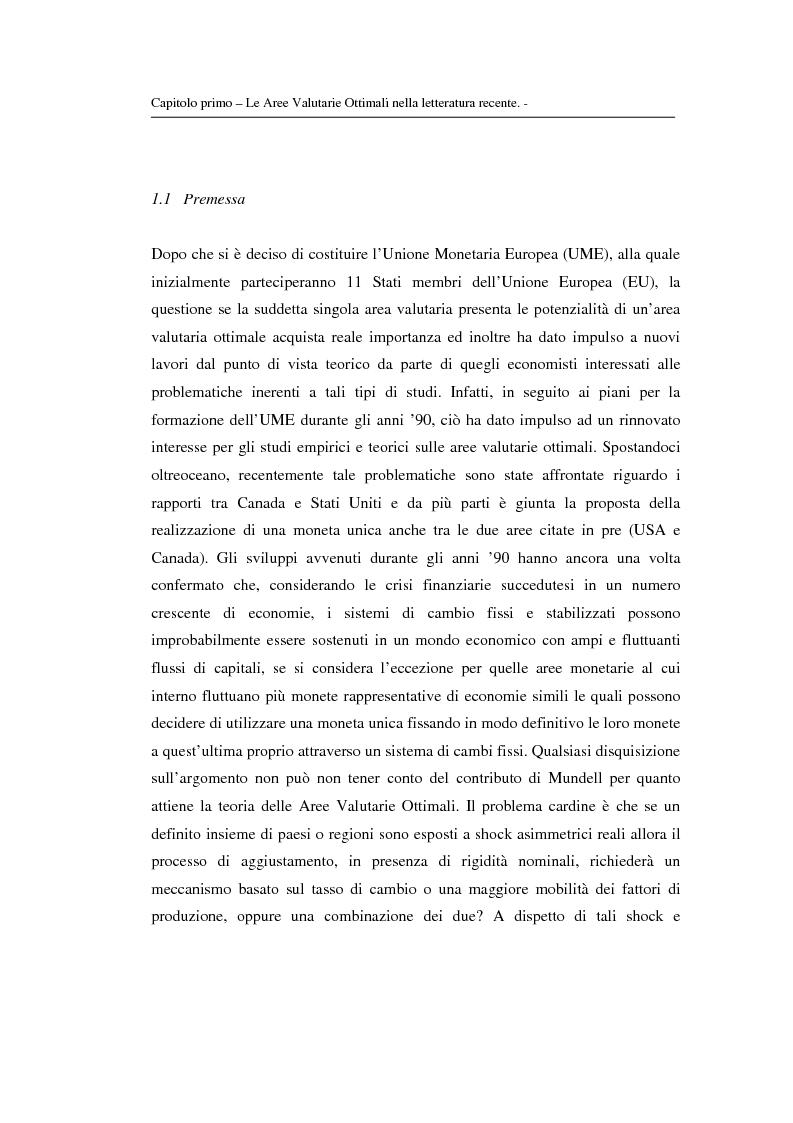 Anteprima della tesi: Le aree valutarie ottimali: la realtà dell'Ume, Pagina 6