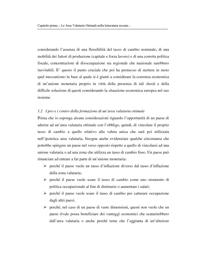 Anteprima della tesi: Le aree valutarie ottimali: la realtà dell'Ume, Pagina 7