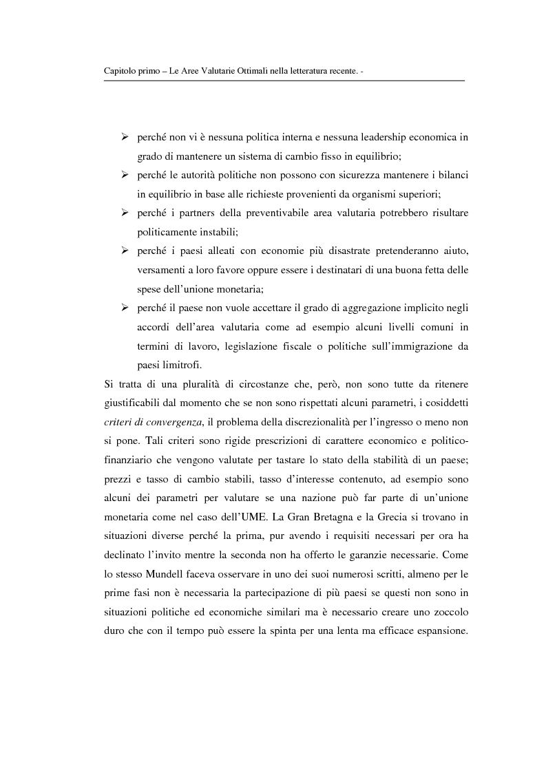 Anteprima della tesi: Le aree valutarie ottimali: la realtà dell'Ume, Pagina 9