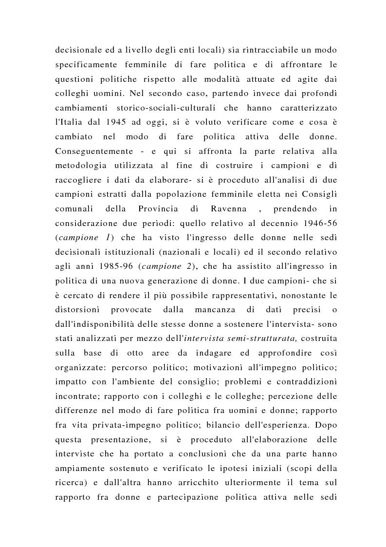Anteprima della tesi: Un'altra politica? La politica al femminile, Pagina 5
