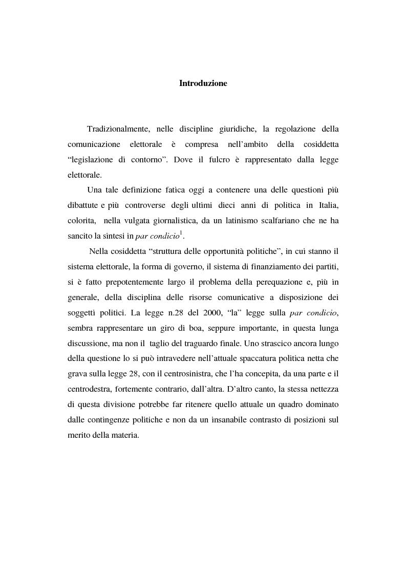 Anteprima della tesi: Dallo spot al messaggio autogestito. Tentativi di regolazione della comunicazione politica in Italia, Pagina 1