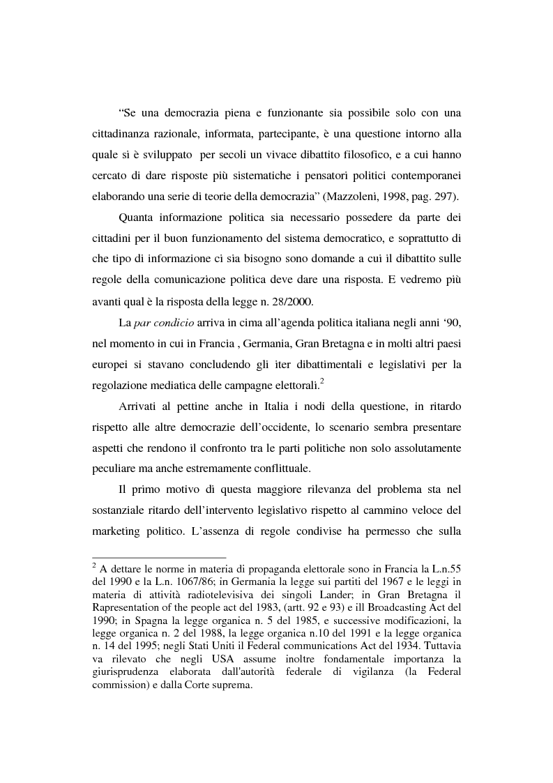 Anteprima della tesi: Dallo spot al messaggio autogestito. Tentativi di regolazione della comunicazione politica in Italia, Pagina 5