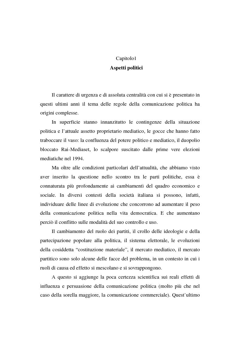 Anteprima della tesi: Dallo spot al messaggio autogestito. Tentativi di regolazione della comunicazione politica in Italia, Pagina 8