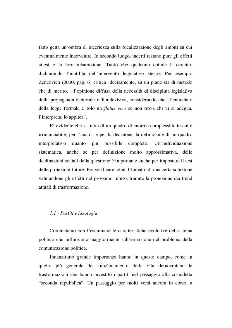 Anteprima della tesi: Dallo spot al messaggio autogestito. Tentativi di regolazione della comunicazione politica in Italia, Pagina 9