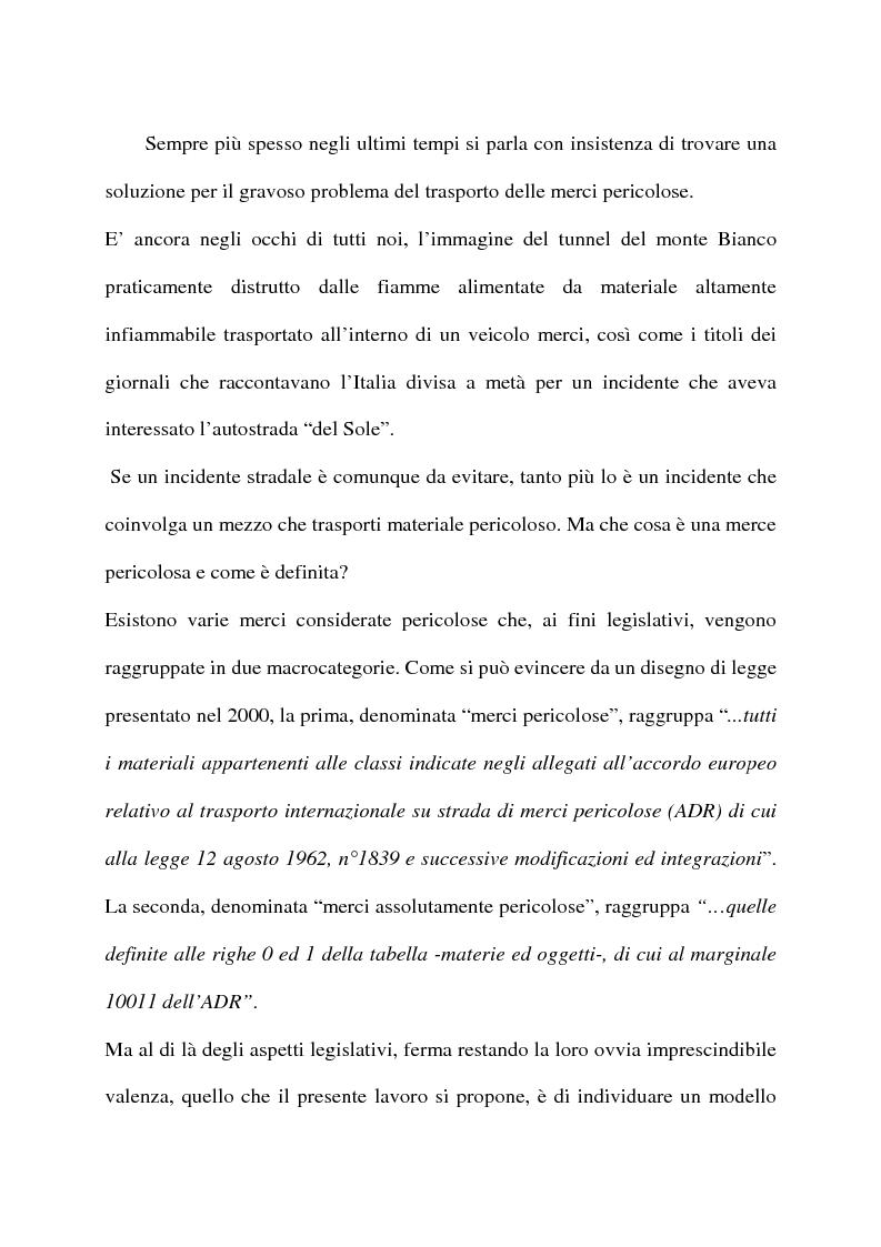 Anteprima della tesi: Modelli di routing e scheduling per il trasporto di merci pericolose, Pagina 1