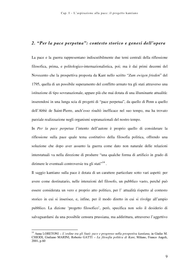 Anteprima della tesi: Alle origini della democrazia cosmopolitica: kant ed il problema della pace perpetua, Pagina 9