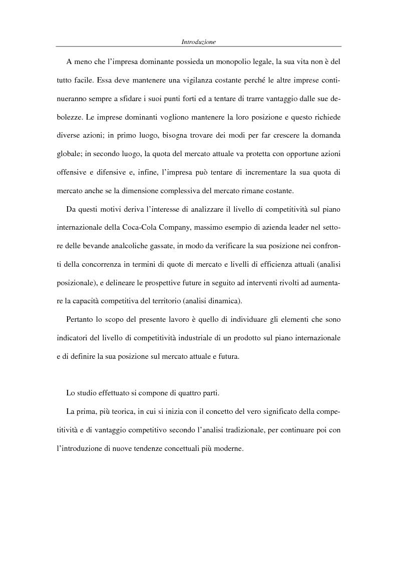 Anteprima della tesi: La competitività come elemento fondante dell'economia industriale. Il caso Coca-Cola, Pagina 3
