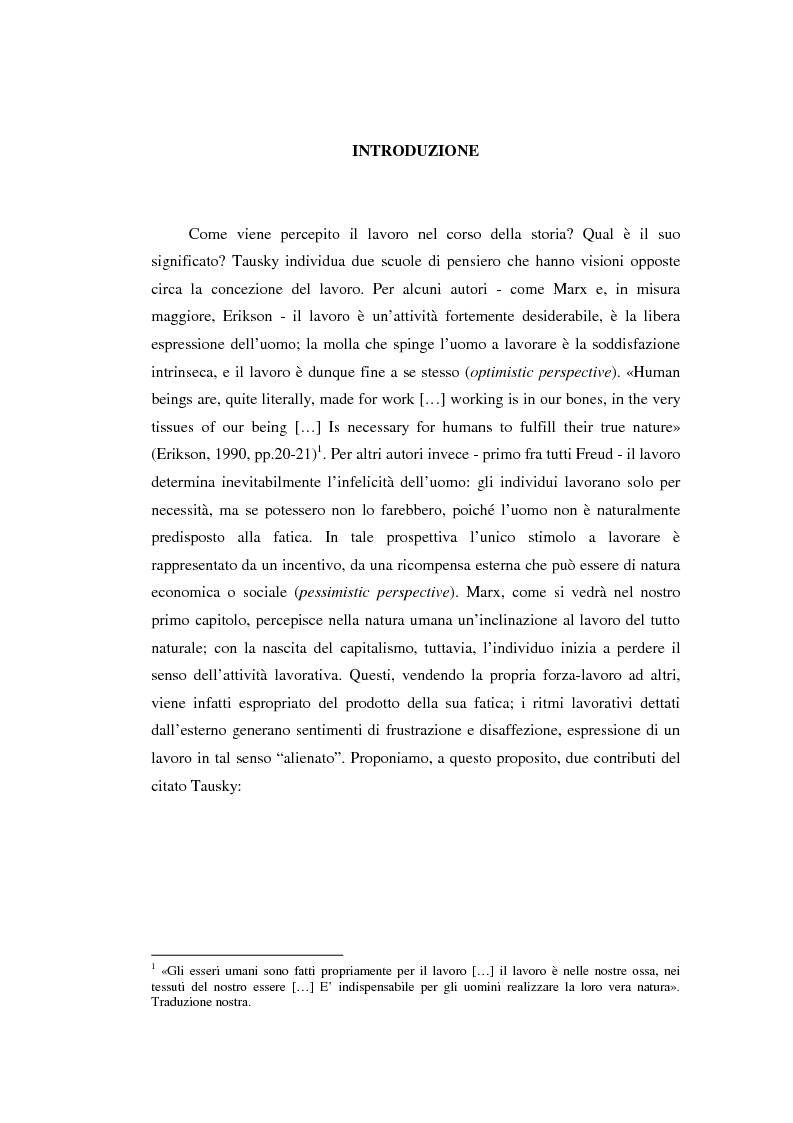 Anteprima della tesi: Alienazione e lavoro: il problema dell'alienazione nello scenario lavorativo post-industriale. Un approfondimento teorico e una ricerca empirica, Pagina 2