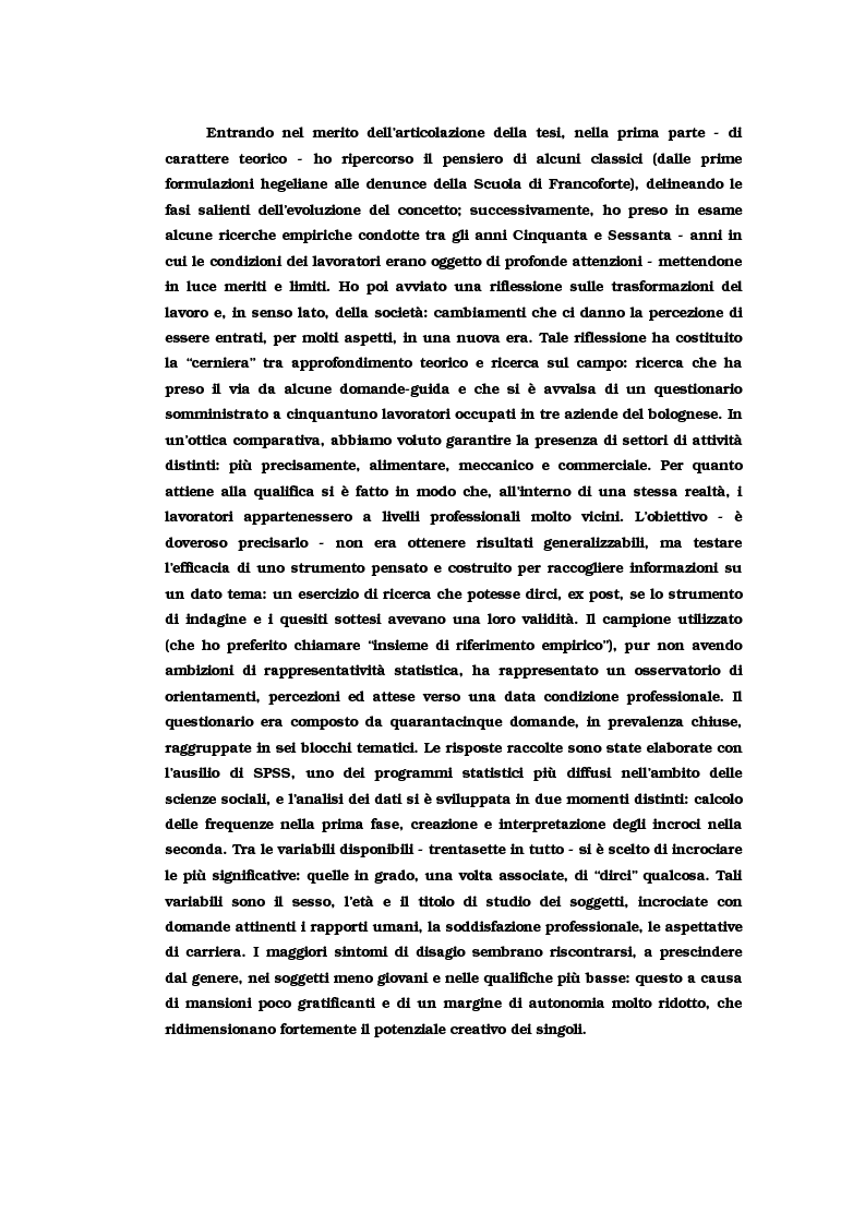 Anteprima della tesi: Alienazione e lavoro: il problema dell'alienazione nello scenario lavorativo post-industriale. Un approfondimento teorico e una ricerca empirica, Pagina 6