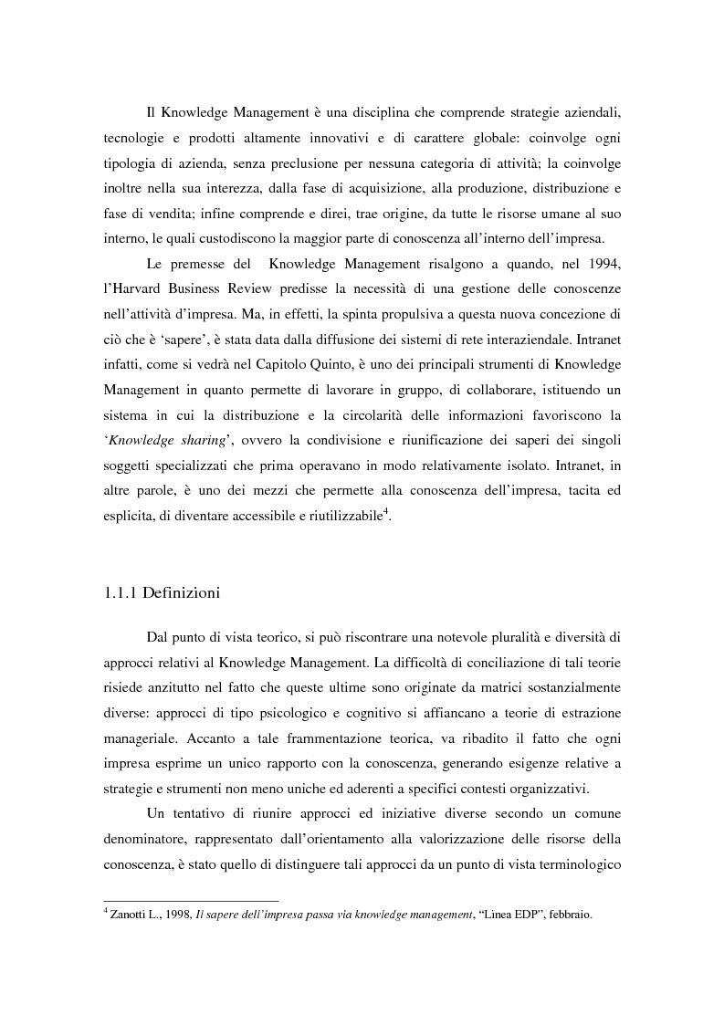 Anteprima della tesi: Knowledge Management: ripensare l'impresa come piattaforma di conoscenze, Pagina 10