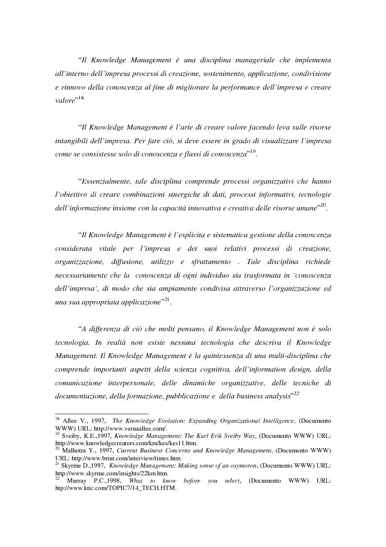 Anteprima della tesi: Knowledge Management: ripensare l'impresa come piattaforma di conoscenze, Pagina 15