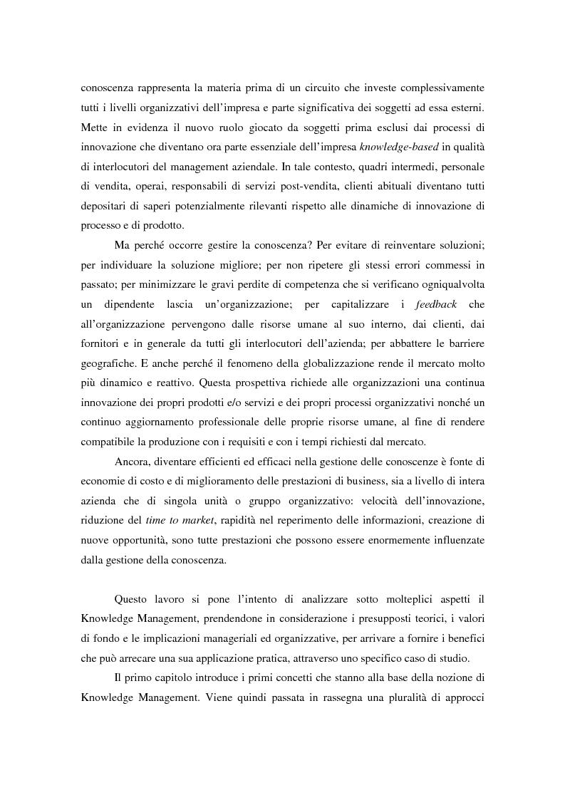 Anteprima della tesi: Knowledge Management: ripensare l'impresa come piattaforma di conoscenze, Pagina 2