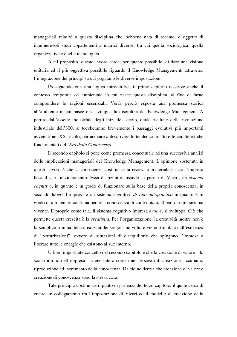 Anteprima della tesi: Knowledge Management: ripensare l'impresa come piattaforma di conoscenze, Pagina 3