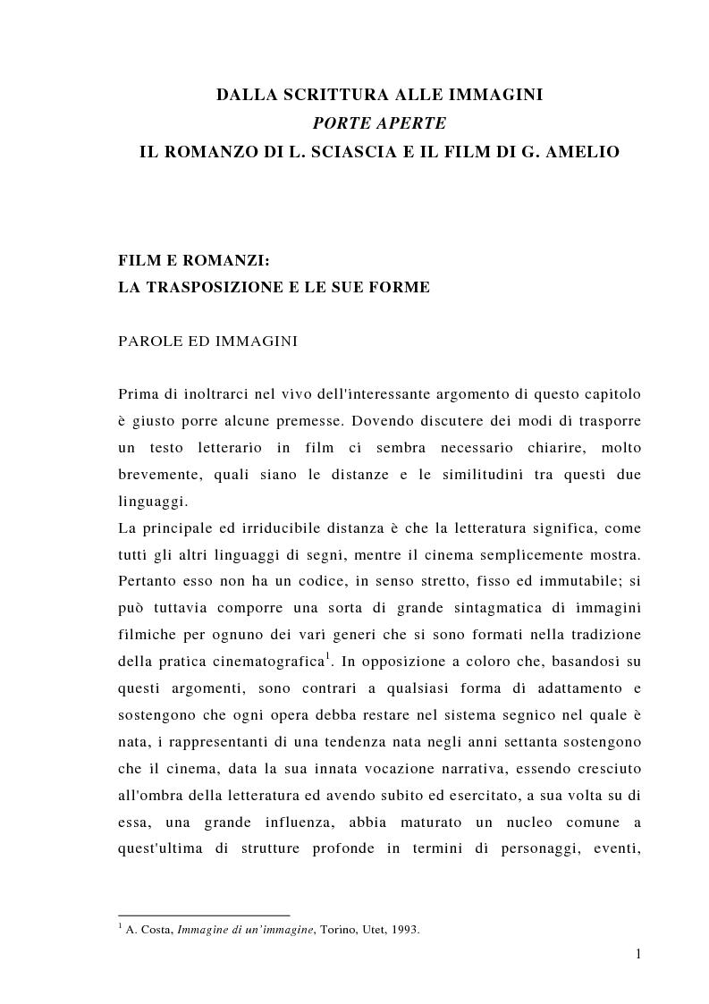 Anteprima della tesi: Dalla scrittura alle immagini. Porte aperte: il romanzo di L. Sciascia e il film di G. Amelio., Pagina 1