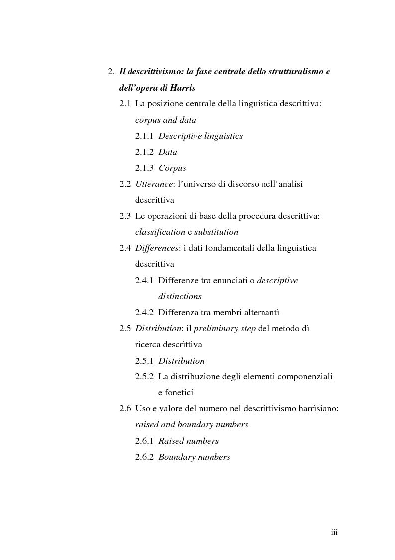 Indice della tesi: Il metalinguaggio di Zellig S. Harris nel periodo 1940-1951, Pagina 3