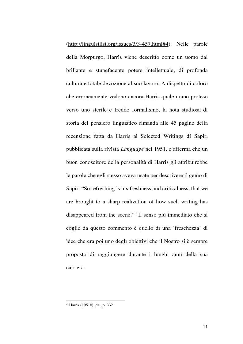 Anteprima della tesi: Il metalinguaggio di Zellig S. Harris nel periodo 1940-1951, Pagina 11