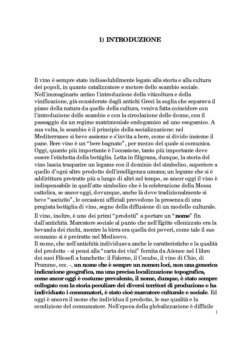 Anteprima della tesi: Progetto di promozione e valorizzazione del vino siciliano, Pagina 1
