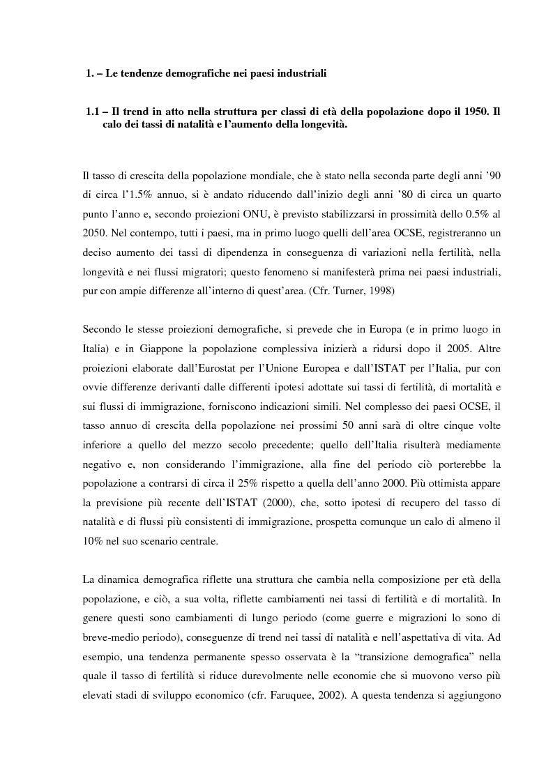 Anteprima della tesi: Invecchiamento della popolazione, stato sociale e assistenza agli anziani, Pagina 5